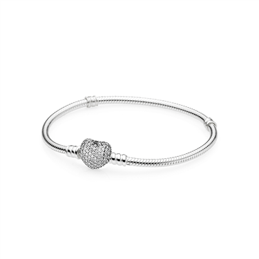 Pandora Pavé Heart Moments Silver Bracelet  - Click to view larger image