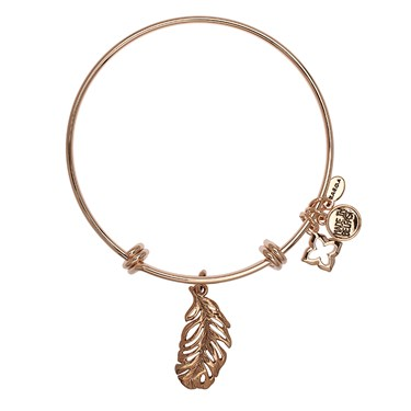Karma Rose Gold Feather Bangle  - Click to view larger image