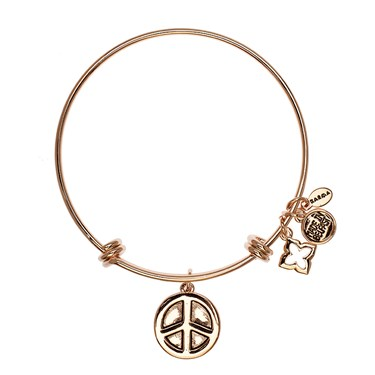 Karma Rose Gold Hope Love Peace Coin Bangle  - Click to view larger image