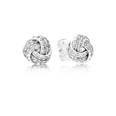 Pandora Sparkling Love Knot Stud Earrings  - Click to view larger image