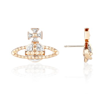 Vivienne Westwood Mayfair Bas Relief Pink Gold Earrings  - Click to view larger image