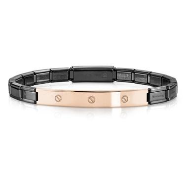 Nomination  Trendsetter Black And Rose Gold Screw Bracelet