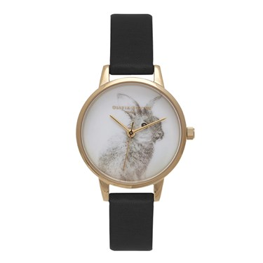 Olivia Burton Vegan Friendly Woodland Bunny Black And Gold Watch  - Click to view larger image