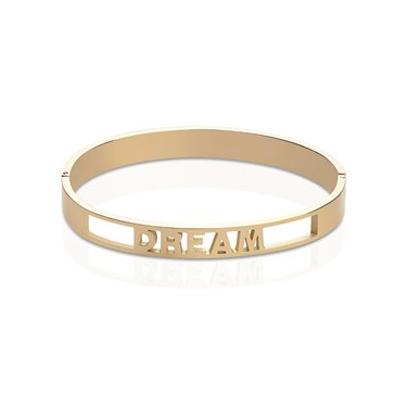 Affirmations Gold Cut-Out Dream Bangle  - Click to view larger image