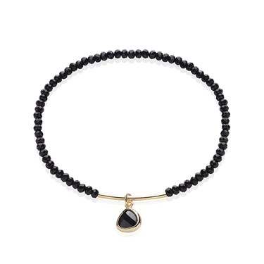 August Woods Black Glass Beaded Gold Bracelet