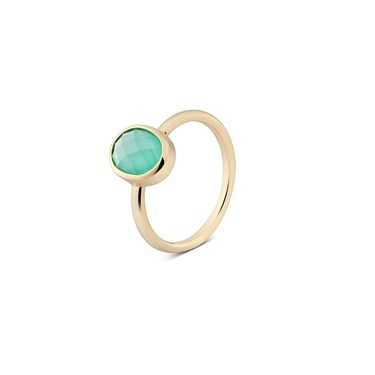 August Woods Mint Green Glass Gold Ring