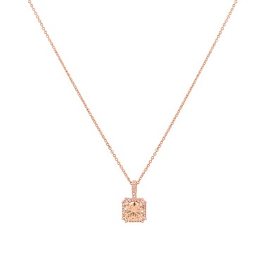 August Woods Square Cut Champagne Crystal Necklace  - Click to view larger image
