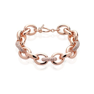 August Woods Rose Gold Chunky Chain Crystal Bracelet Click To View Larger Image