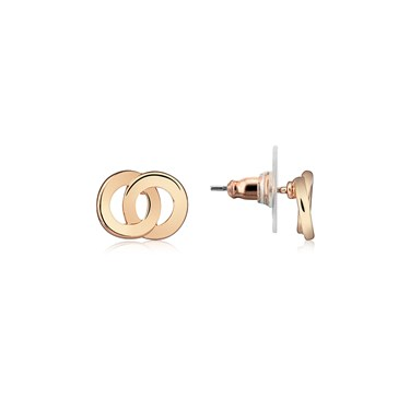 August Woods Rose Gold Interlinking Stud Earrings  - Click to view larger image