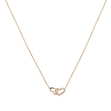 Dirty Ruby Rose Gold Interlocking Hearts Necklace