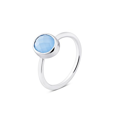August Woods Ice Blue Glass Silver Ring