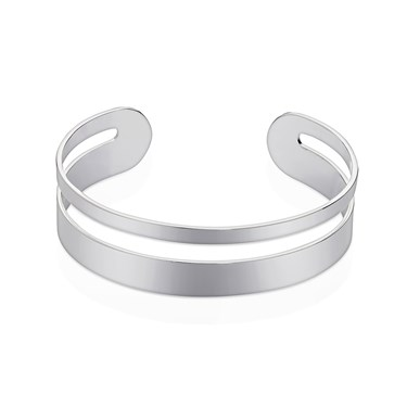 August Woods Silver Geometric Bangle  - Click to view larger image