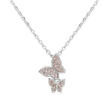 August Woods Pink Crystal Butterfly Necklace