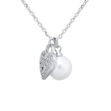 August Woods Crystal Heart & Pearl Necklace