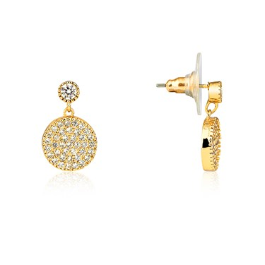 August Woods Gold Embellished Disc Earrings  - Click to view larger image