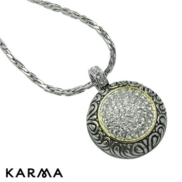 Karma Crystal Swirl Pendant Necklace