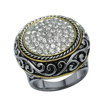 Karma Bi-Colour Crystal Circle Ring
