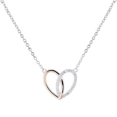 Argento Interlocking Rose Gold Mix Heart Necklace