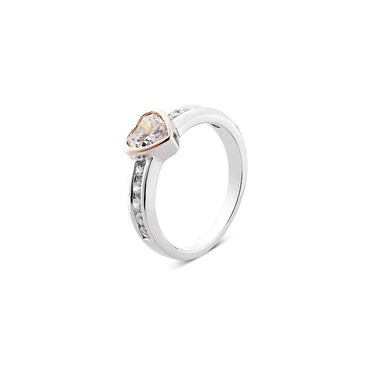 Argento Solitaire Rose Gold Mix Heart Ring  - Click to view larger image
