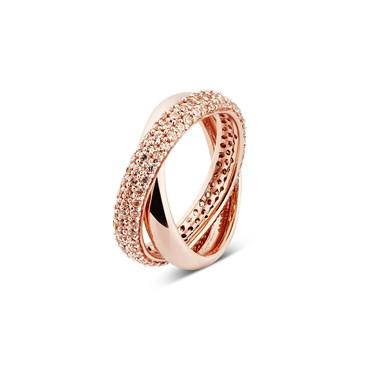 Argento Rose Gold Interlocking Bands Ring