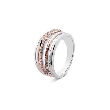 Argento Rose Gold & Silver Twisted Band Ring