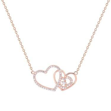 Argento Rose Gold Crystal Romance Necklace  - Click to view larger image