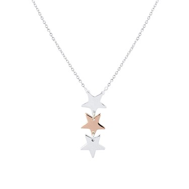 Argento Silver & Rose Gold Star Necklace