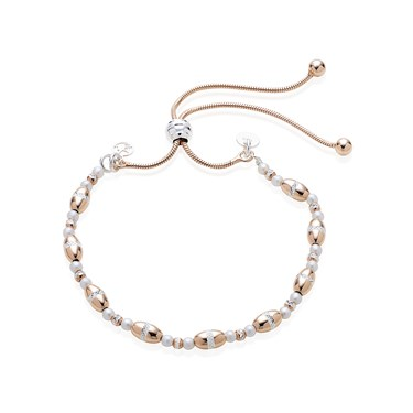Argento Silver, Pearl and Rose Gold Pull Friendship Bracelet  - Click to view larger image