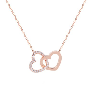 Argento Rose Gold Interlocking Hearts Necklace  - Click to view larger image