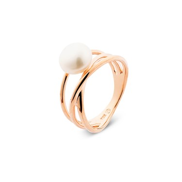 Argento Rose Gold & Pearl Twist Ring