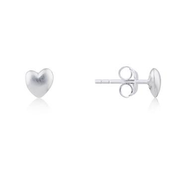 Argento Matte Silver Heart Stud Earrings