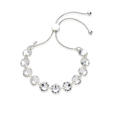 Argento Silver Crystal Discs Pull Friendship Bracelet