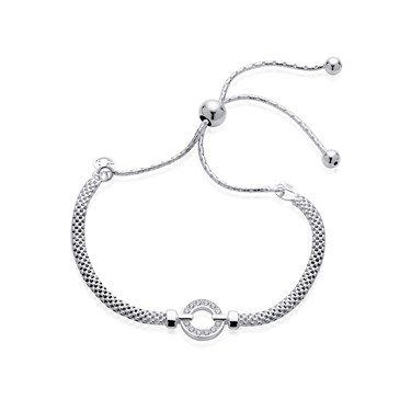 Argento Silver Crystal Circle Pull Friendship Bracelet  - Click to view larger image