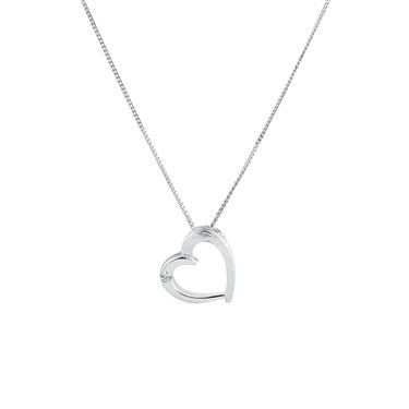 Argento Single Crystal Heart Necklace
