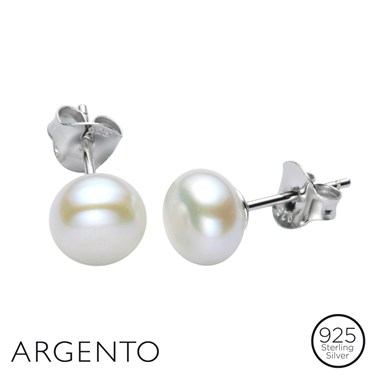 Argento Pearl Stud Earrings  - Click to view larger image