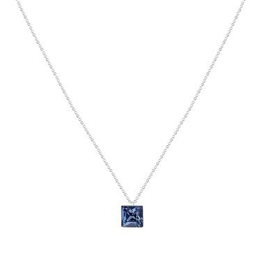 Argento Sapphire Blue Square Cut Necklace