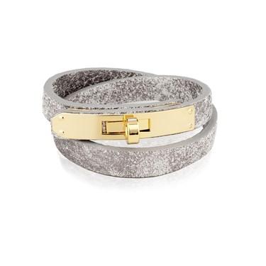 August Woods Grey & Gold Leather Bracelet