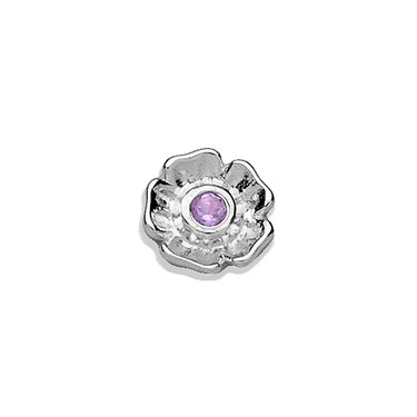 Storie Storie Silver Amethyst Flower Charm  - Click to view larger image