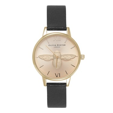 Olivia Burton Moulded Bee Midi Black & Gold Watch  - Click to view larger image