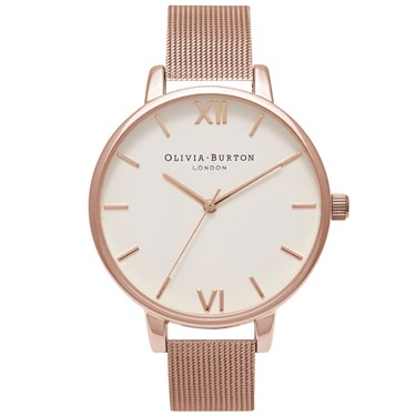 Olivia Burton Big Dial Rose Gold Mesh Watch  - Click to view larger image
