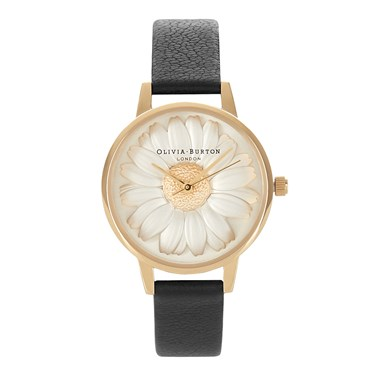 Olivia Burton 3D Daisy Black & Gold Watch  - Click to view larger image
