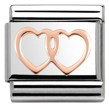 Nomination Rose Gold Double Heart Charm  - Click to view larger image