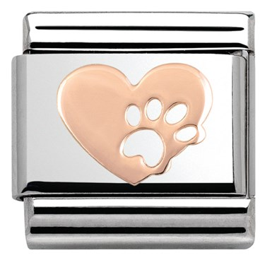 Nomination Rose Gold Heart With Paw Print Charm  - Click to view larger image