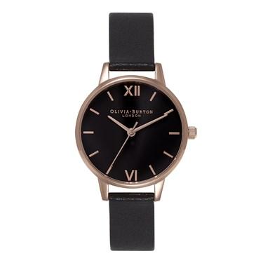 Olivia Burton Midi Black Dial & Rose Gold Watch  - Click to view larger image