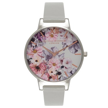 Olivia Burton Enchanted Garden Grey & Silver Watch  - Click to view larger image
