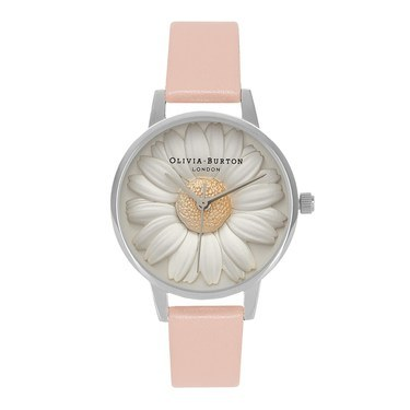 Olivia Burton 3D Daisy Dusty Pink & Silver Watch  - Click to view larger image