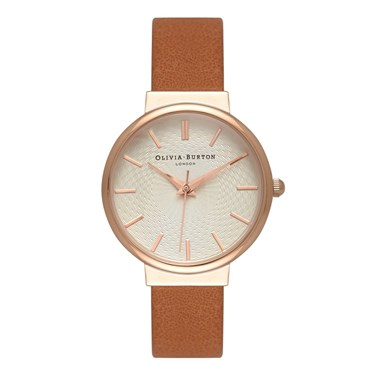 Olivia Burton Hackney Tan & Rose Gold Watch  - Click to view larger image