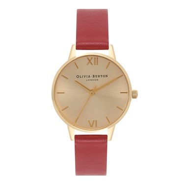 Olivia Burton Midi Dial Red & Gold Watch  - Click to view larger image