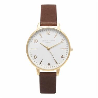 Olivia Burton Modern Vintage Midi Brown & Gold Watch   - Click to view larger image