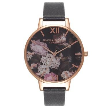 Olivia Burton Winter Garden Black & Rose Gold Watch  - Click to view larger image